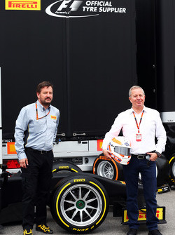 (L to R): Paul Hembery, Pirelli Motorsport Director and Martin Brundle, Sky Sports Commentator with the Pirelli 18
