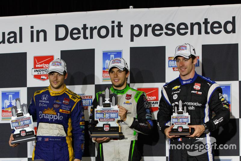 Podium: 1. Carlos Munoz, Andretti Autosport, Honda; 2. Marco Andretti, Andretti Autosport, Honda, un