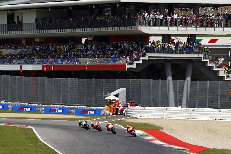 Marc Marquez, Repsol Honda Team; Andrea Iannone, Ducati Team; Dani Pedrosa, Repsol Honda Team, und V