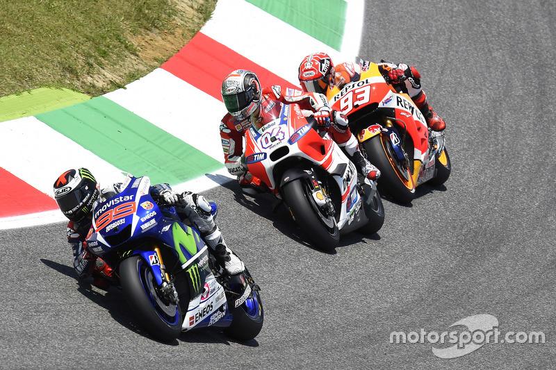 Jorge Lorenzo, Yamaha Factory Racing; Andrea Dovizioso, Ducati Team, und Marc Marquez, Repsol Honda