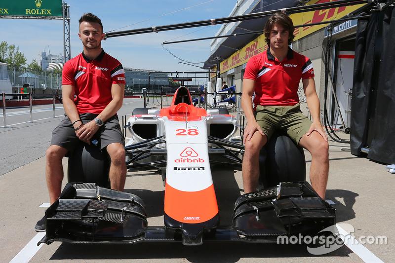 Roberto Merhi, Manor F1 Team, und Will Stevens, Manor F1 Team, bei der Vorstellung von Sponsor airbn