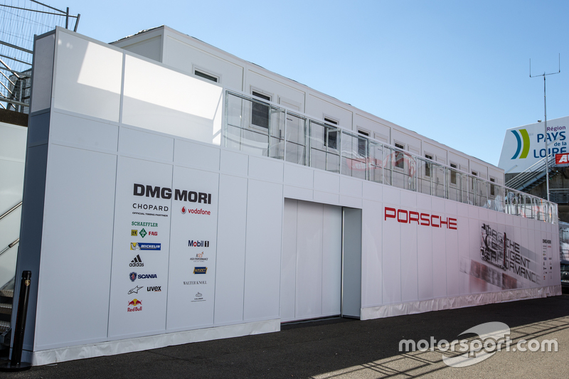 Porsche Team paddock area transporter and logo / signage
