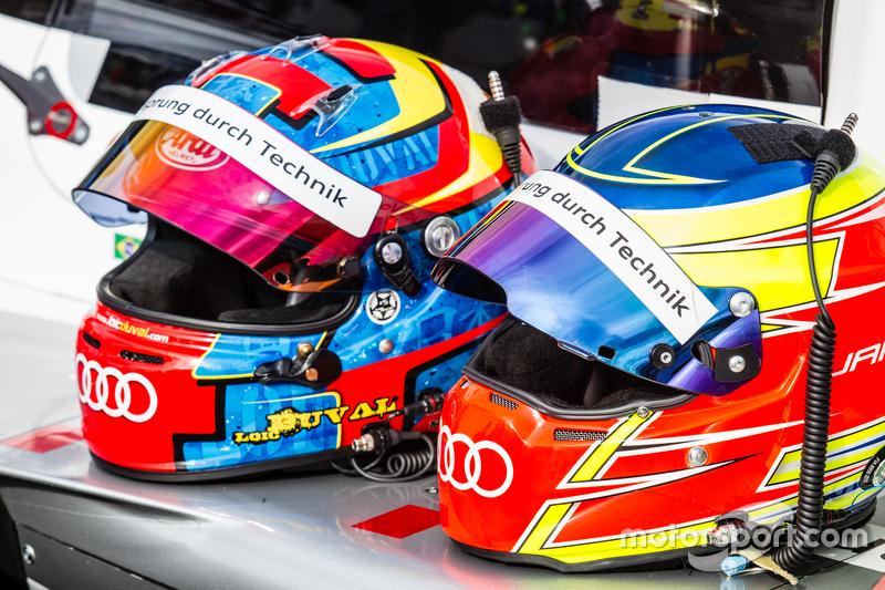 #8 Audi Sport Team Joest Audi R18 e-tron quattro: шоломs of Лоік Дюваль та Олівер Ярвіс