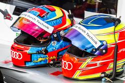 #8 Audi Sport Team Joest Audi R18 e-tron quattro: helmets of Loic Duval dan Oliver Jarvis