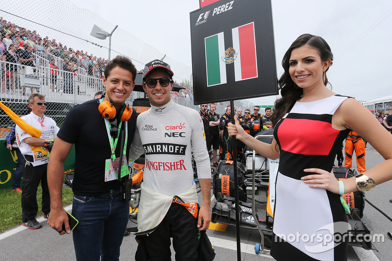 Javier Hernandez, Manchester Utd Football Player with Sergio Perez, Sahara Force India F1 on the grid