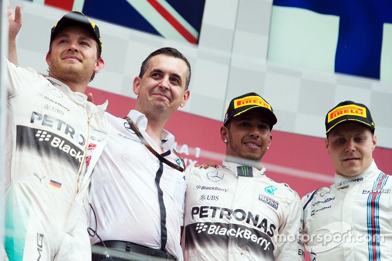 2015 - 1. Lewis Hamilton, 2. Nico Rosberg, 3. Valtteri Bottas
