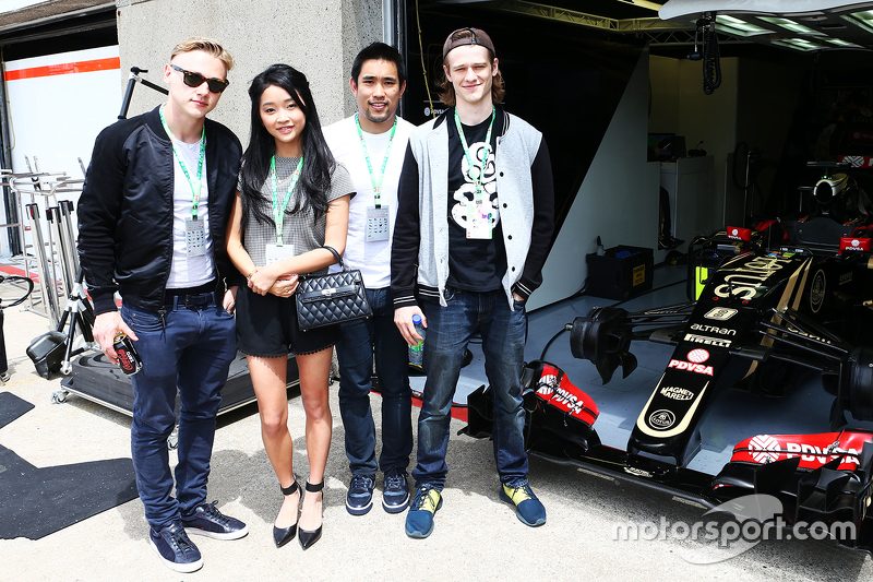 Lotus F1 Team guests, Actor; Lana Condor, Actress; Dalton Wong, Trainer; Ben Hardy, Actor