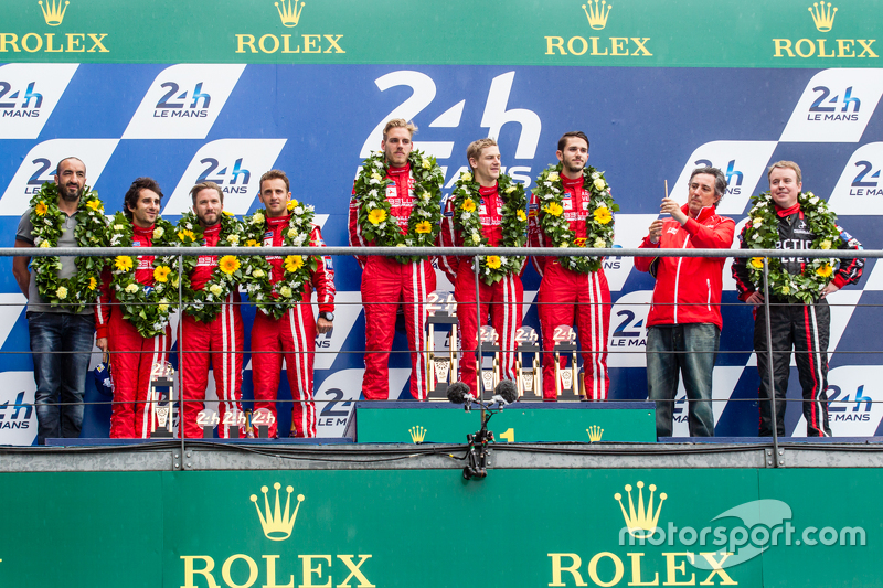 LMP1 privateer podium: class winners #13 Rebellion Racing Rebellion R-One: Dominik Kraihamer, Daniel