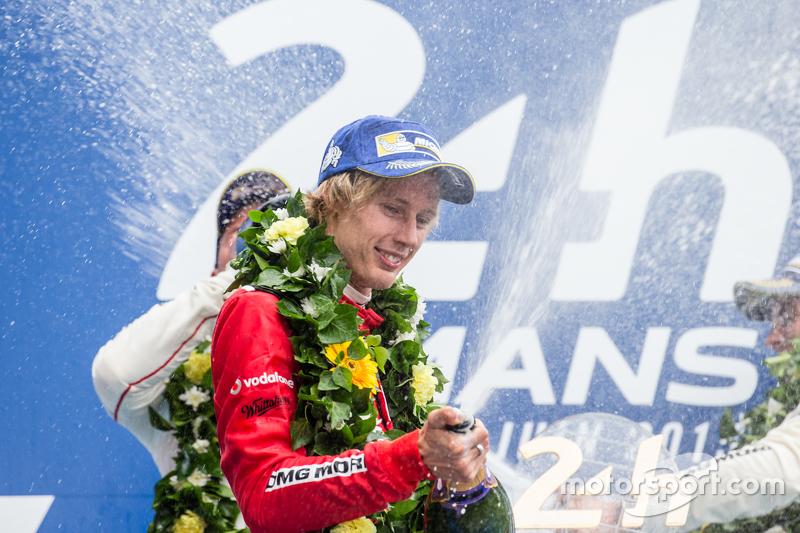 LMP1 podium: champagne for Brendon Hartley