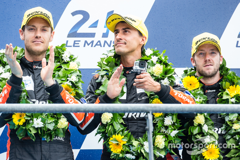 LMP2-Podium: 3. #26 G-Drive Racing, Ligier JS P2: Roman Rusinov, Julien Canal, Sam Bird