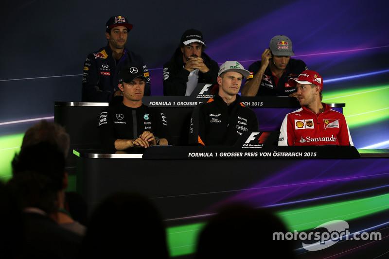 Daniel Ricciardo, Red Bull Racing; Fernando Alonso, McLaren; Carlos Sainz Jr., Scuderia Toro Rosso; Nico Rosberg, Mercedes AMG F1; Nico Hulkenberg, Sahara Force India F1; Sebastian Vettel, Ferrari