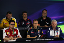 Conferenza Stampa FIA: Rob White, Vice Direttore Renault Sport; James Key, Direttore Tecnico Scuderia Toro Rosso; Tom McCullough, Capo Ingegneri Sahara Force India F1 Team; Mattia Binotto, Capo ingegneria di pista Ferrari; Paul Monaghan, Capo ingegneri Red Bull Racing; Pat Symonds, Direttore tecnico Williams