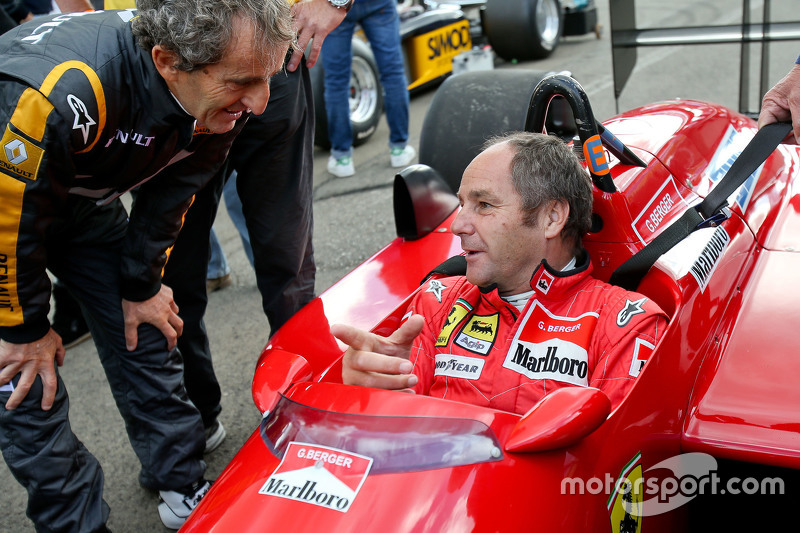 Gerhard Berger, Ferrari F1/87-88C at the Legends Parade with Alain Prost,