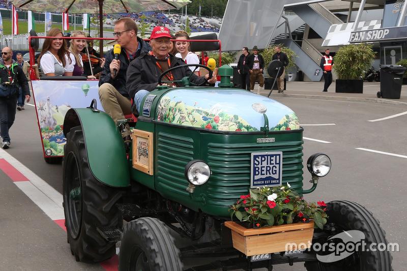 Niki Lauda, Mercedes Non-Executive Chairman on a tractor