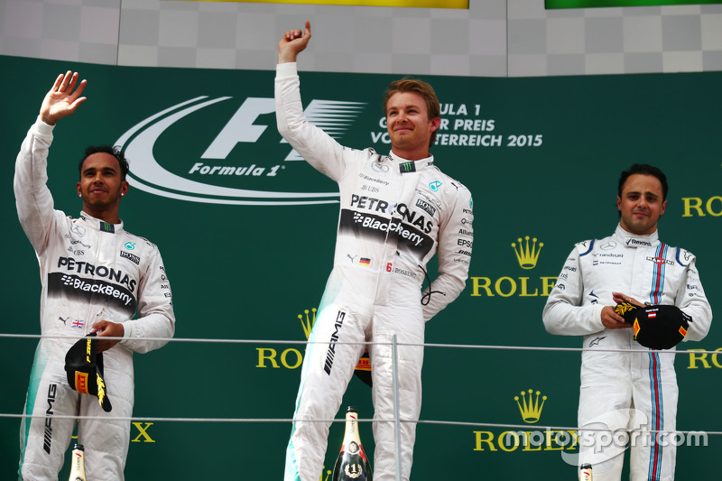 Podium: Lewis Hamilton, Mercedes AMG F1, second; Nico Rosberg, Mercedes AMG F1, race winner; Felipe Massa, Williams, third.