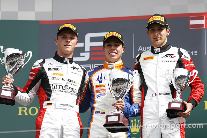 Race winner Oscar Tunjo, Trident and second place Marvin Kirchhofer, ART Grand Prix and third place Esteban Ocon, ART Grand Prix