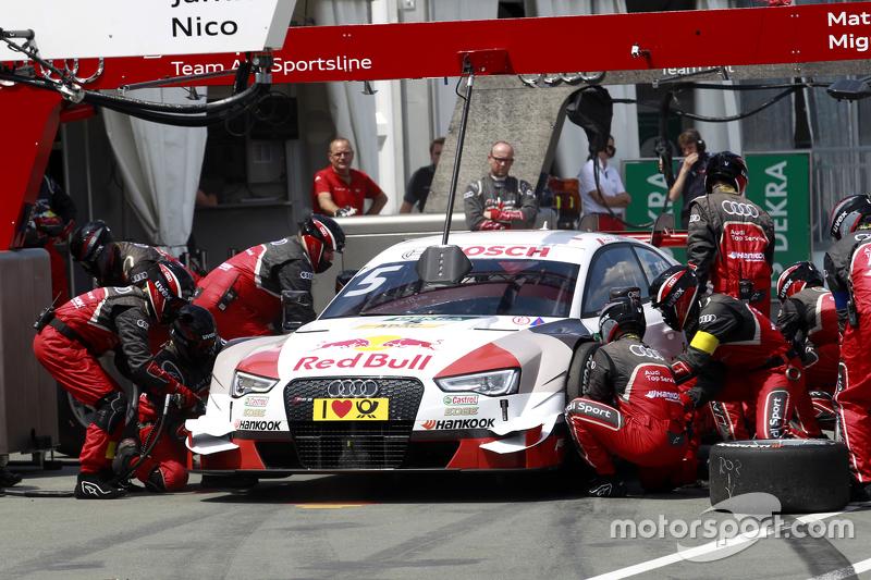 Boxenstopp für Mattias Ekström, Audi Sport Team Abt Sportsline, Audi A5 DTM