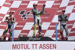 Podium: race winner Valentino Rossi, second place Marc Marquez, third place Jorge Lorenzo