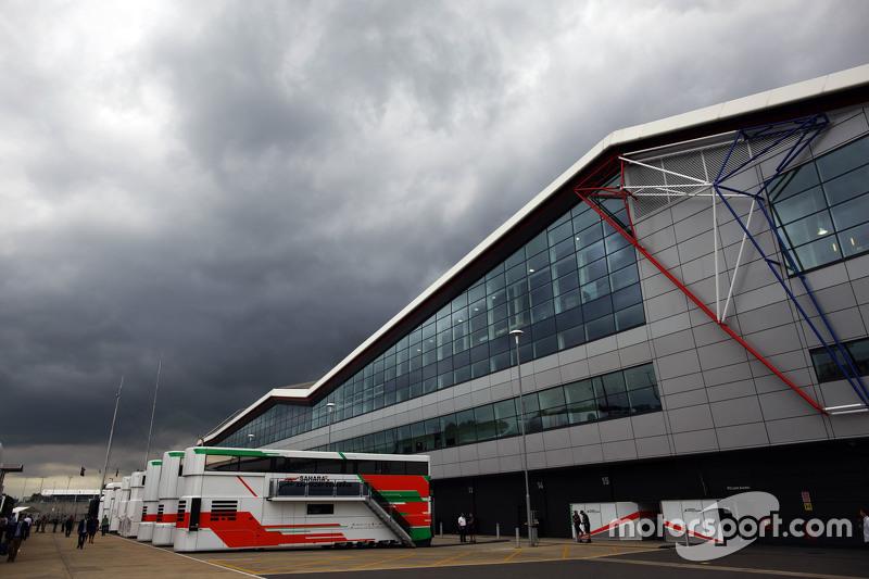 Sahara Force India F1 Team trucks in the paddock.