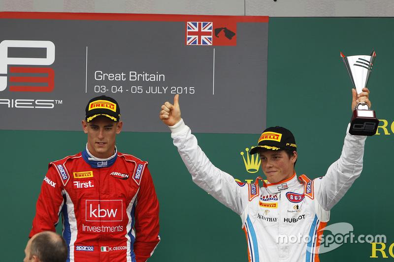 Peringkat ketiga Ralph Boschung, Jenzer Motorsport & Kevin Ceccon, Arden International