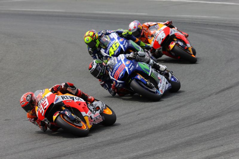Марк Маркес, Repsol Honda Team та Хорхе Лоренцо та Валентіно Россі, Yamaha Factory Racing та Дані Педроса, Repsol Honda Team