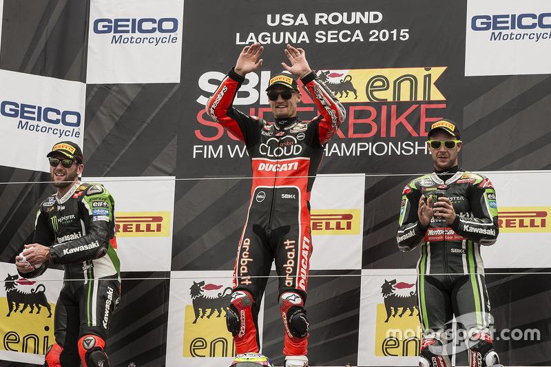 Podium: race winner Chaz Davies, Ducati Team, second place Tom Sykes, Kawasaki Racing, third place Jonathan Rea, Kawasaki Racing