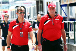 Graeme Lowdon, Manor F1 Team Chief Executive Officer with John Booth, Manor F1 Team Team Principal