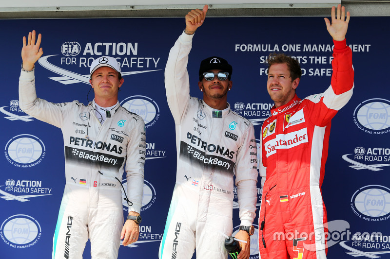 Qualifying top three in parc ferme,: Nico Rosberg, Mercedes AMG F1, second; Lewis Hamilton, Mercedes AMG F1, pole position; Sebastian Vettel, Ferrari, third