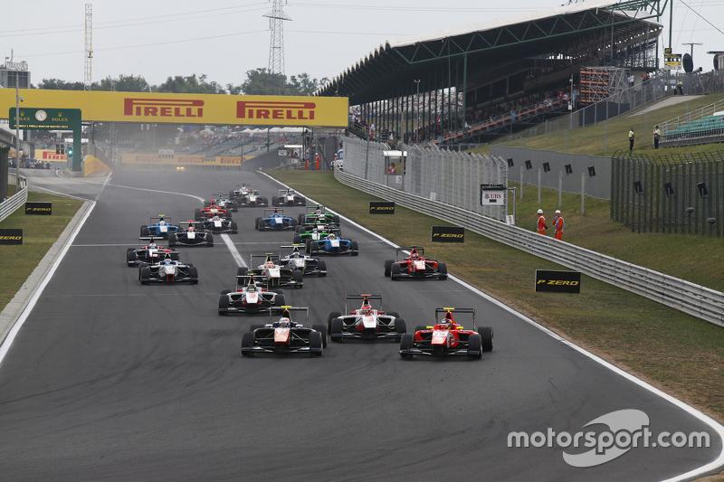 Luca Ghiotto, Trident, memimpin Esteban Ocon, ART Grand Prix, dan Emil Bernstorff, Arden Internation