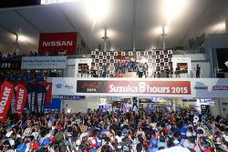 Podium: Katsuyuki Nakasuga, Pol Espargaro, Bradley Smith, second place Josh Hook, Dominique Aegerter