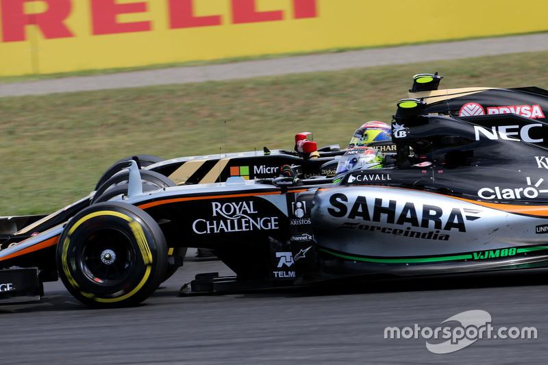 Sergio Perez, Sahara Force India; Pastor Maldonado, Lotus F1 Team