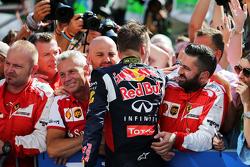 Daniil Kvyat, Red Bull Racing celebrates in parc ferme