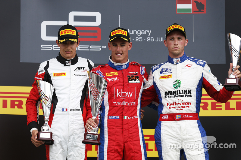 Race winner Kevin Ceccon, Arden International, second place Esteban Ocon, ART Grand Prix & third place Jimmy Eriksson, Koiranen GP