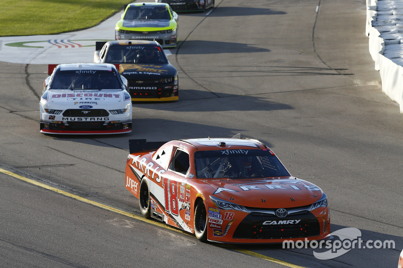 Pole-sitter Daniel Suarez, Joe Gibbs Racing leads field on the pace lap