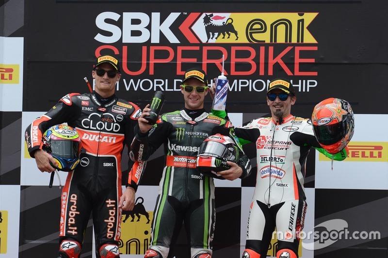 Podium race 1 : second place, Chaz Davies, Ducati Team, winner Jonathan Rea, Kawasaki, third place,