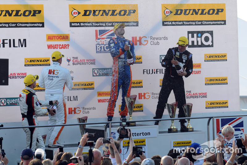 Podium: race winner Jack Goff, MG 888 Racing, second place Jason plato, Team BMR, third place Andy P