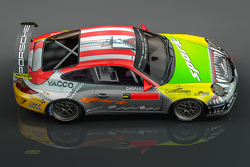Romain Dumas special livery for Rally Germany featuring the colors of Porsches that have shaped his career