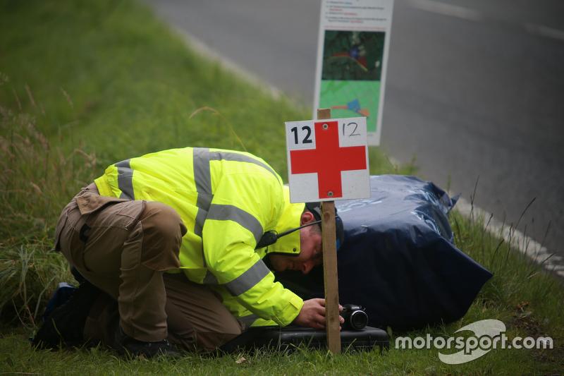 Medical worker set up a camera