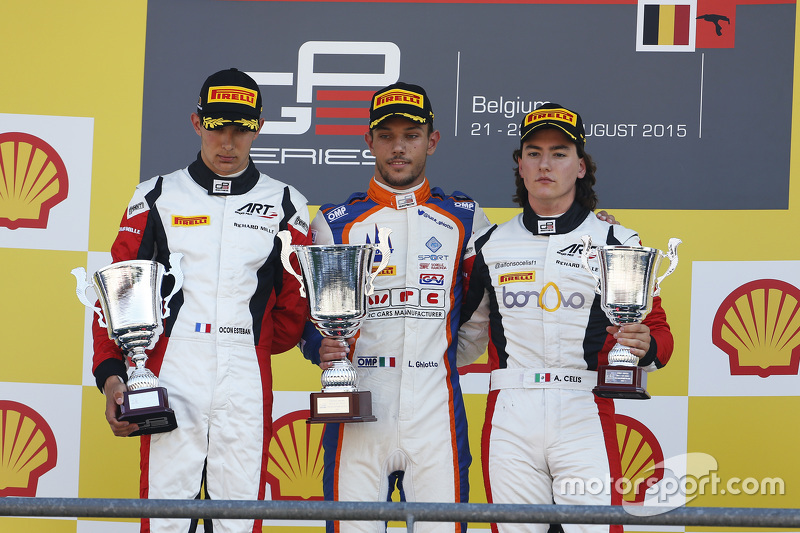 Podium: second place Esteban Ocon, ART Grand Prix and winner Luca Ghiotto, Trident and third place Alfonso Celis Jr., ART Grand Prix