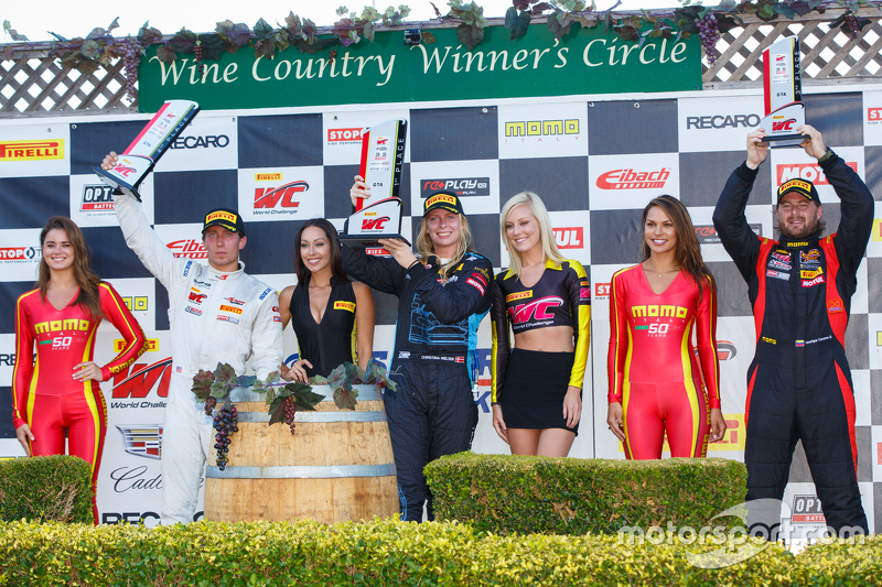 GTA podium: First place #7 TRG-AMR Aston Martin Vantage GT3: Christina Nielsen, second place #66 Dra