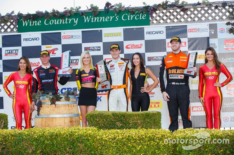GT podium: First place #9 K-Pax Racing McLaren 650S GT3: Kevin Estre, second place #31 EFFORT Racing Porsche 911 GT3 R: Renger van der Zande, and third place #2 CRP Racing Audi R8: Mike Skeen