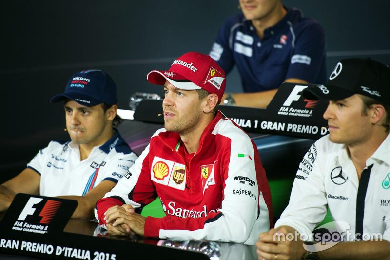 Felipe Massa, Williams, Sebastian Vettel, Ferrari and Nico Rosberg, Mercedes AMG F1 in the FIA Press Conference
