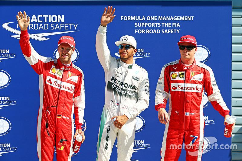 Pole Lewis Hamilton, Mercedes AMG F1 Team, segundo Kimi Raikkonen, Ferrari, terceiro Sebastian Vettel, Ferrari