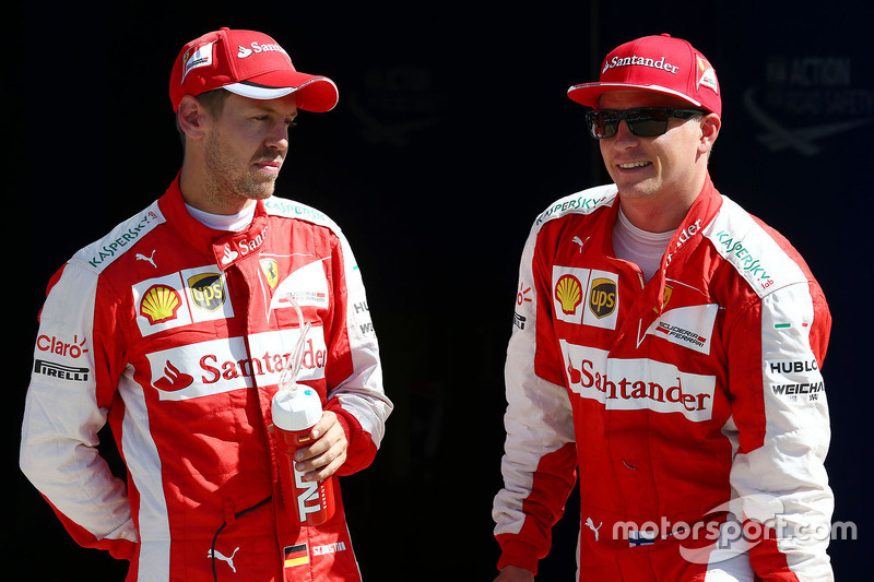 2. Kimi Räikkönen, Ferrari, und 3. Sebastian Vettel, Ferrari