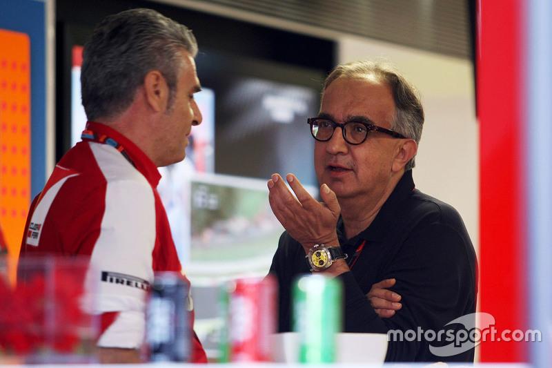 Maurizio Arrivabene, Ferrari Team Principal with Sergio Marchionne, Ferrari President and CEO of Fiat Chrysler Automobiles
