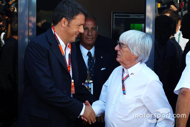Matteo Renzi, italienischer Ministerpräsident, mit Bernie Ecclestone