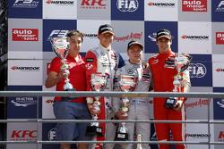 Race 3 Podium: second place Jake Dennis and winner Felix Rosenqvist and third place Lance Stroll, Pr
