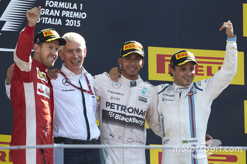 Podium: 1. Lewis Hamilton, Mercedes AMG F1, 2. Sebastian Vettel, Ferrari, 3. Felipe Massa, Williams