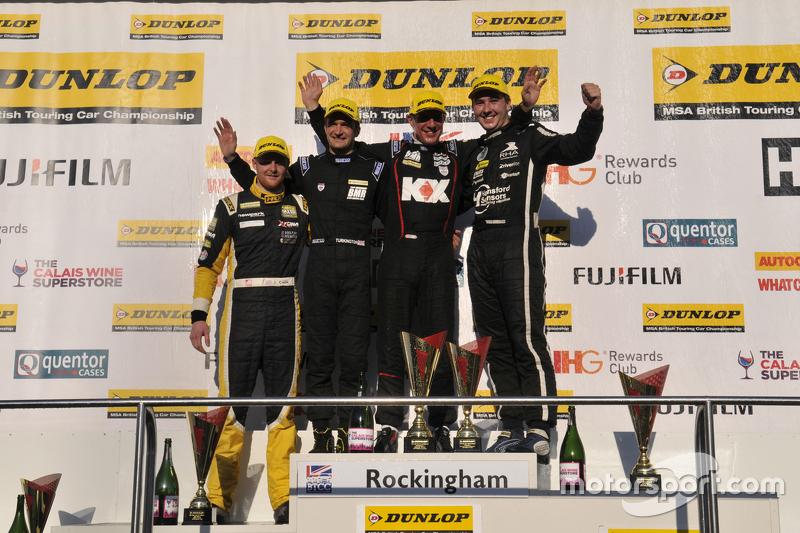 Race 3, Round 24 Podium 1st Jason Plato, 2nd Tom Ingram, 3rd Colin Turkington and JST Winner Josh Co