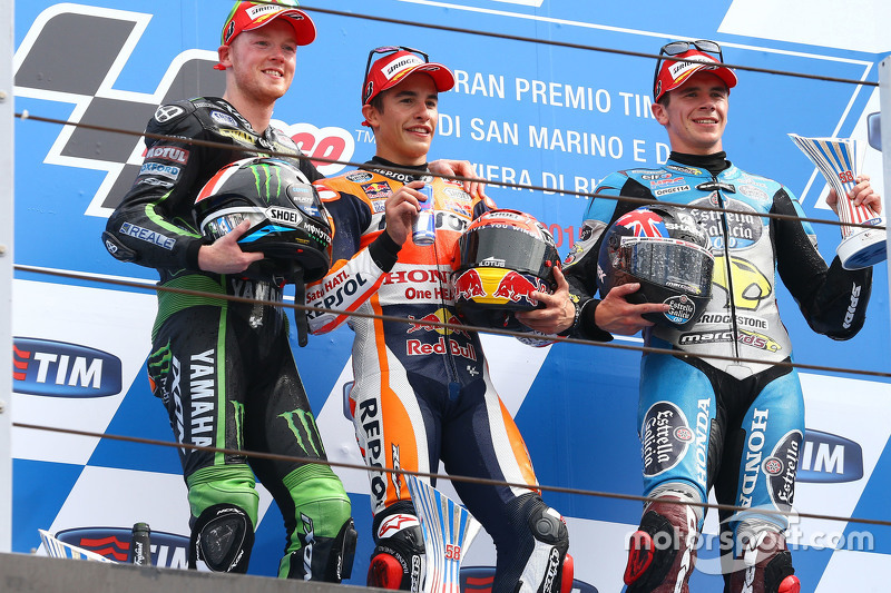 Podio: 1º Marc Marquez, 2º Bradley Smith, 3º Scott Redding
